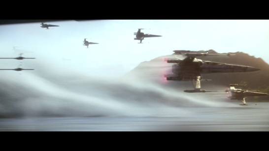 star wars the force awakens x-wings over lake