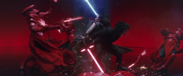 star wars the last jedi rey kylo praetorian guards throne room fight