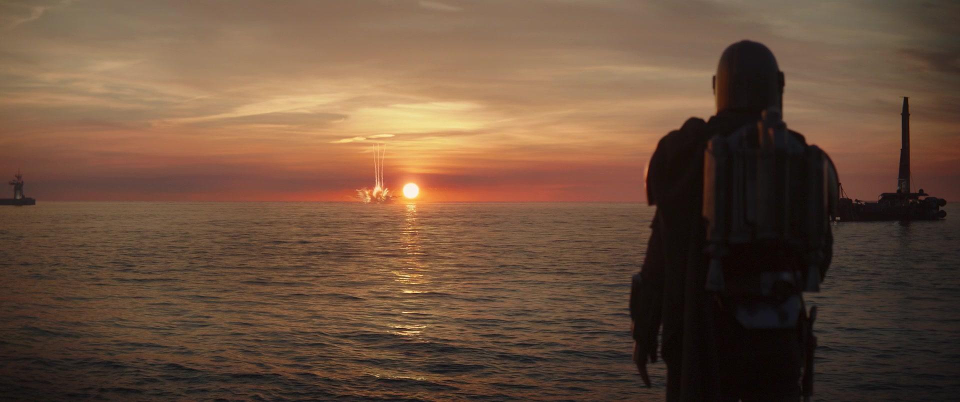star wars series the mandalorian chapter 11 boat explosion din djarin
